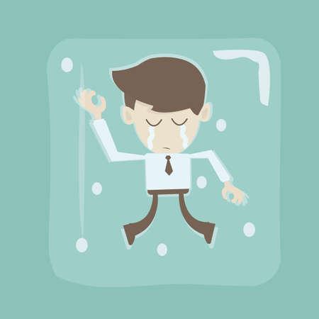 Frozen businessman blocked in the ice Illustration