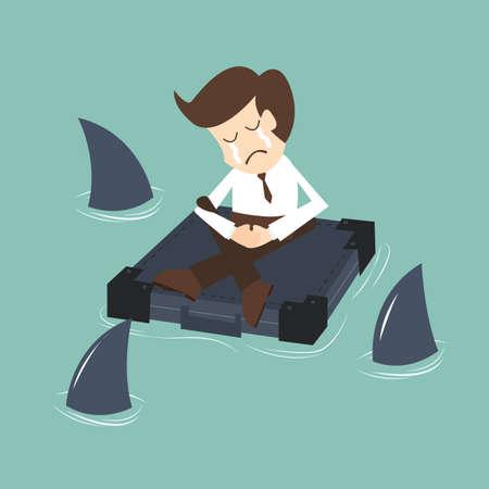 Geschäftsmann von Haien umgeben Krise Konzept Standard-Bild - 31498434