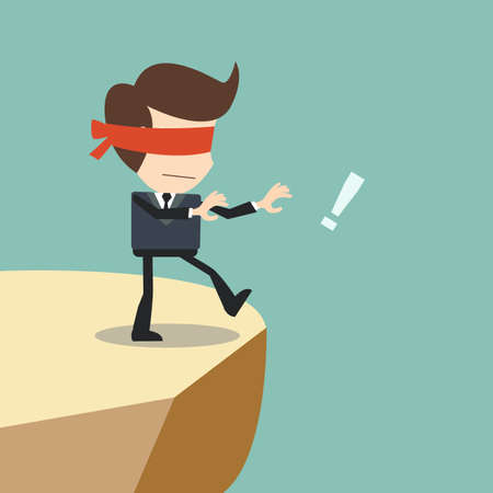 Concept of risk in business with blind businessman Illustration