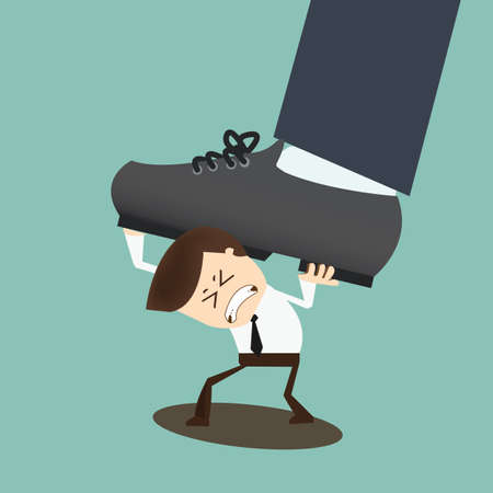 Concept of oppressed by the boss with businessman under a big shoe Vector