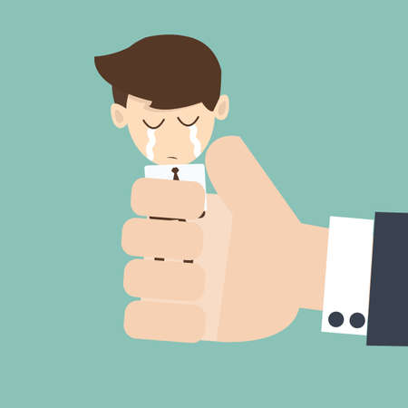extortion: Hand boss squeezing a young businessman Illustration