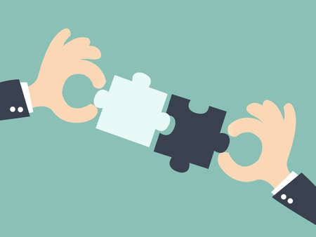 business partnership: business  matching - connecting puzzle elements