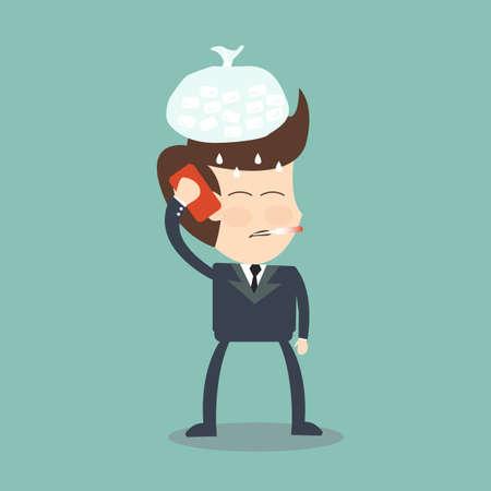病気 - 病気のビジネスマンを呼び出す  イラスト・ベクター素材