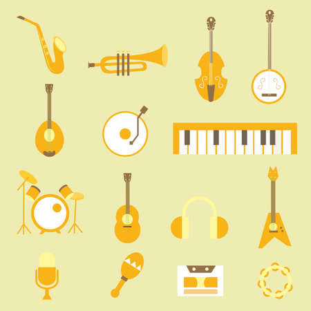 set musical flat icons Illustration