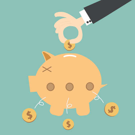 leaking: money  leaking piggy bank