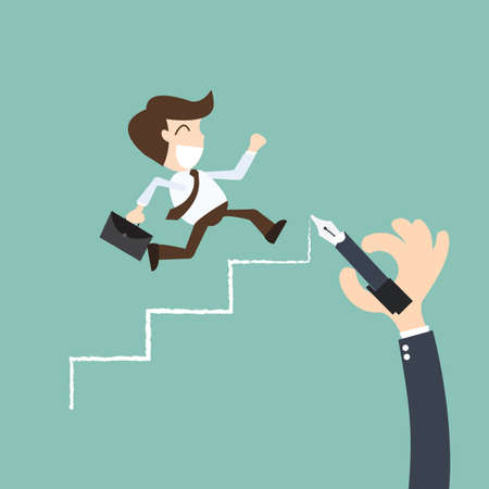 career planning -Businessman climbs the ladder of success Ilustracja