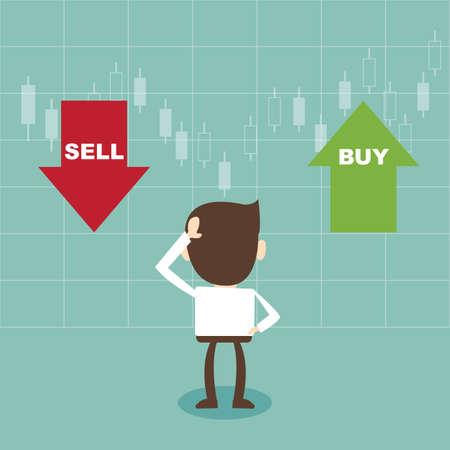 stock trader: Hombre de negocios y la elecci�n venden o compran