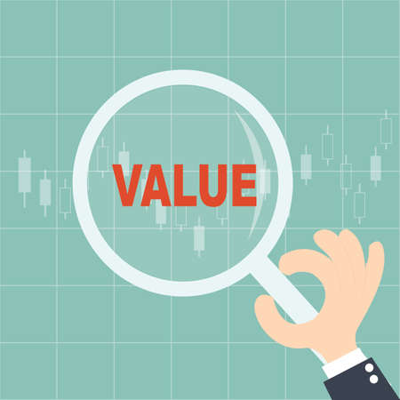 Magnifying glass searching  stock VALUE