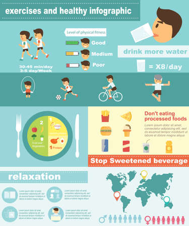 wellbeing: Exercises fitness and healthy lifestyle infographic Illustration