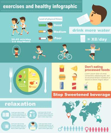 Oefeningen fitness en gezonde levensstijl infographic Vector Illustratie
