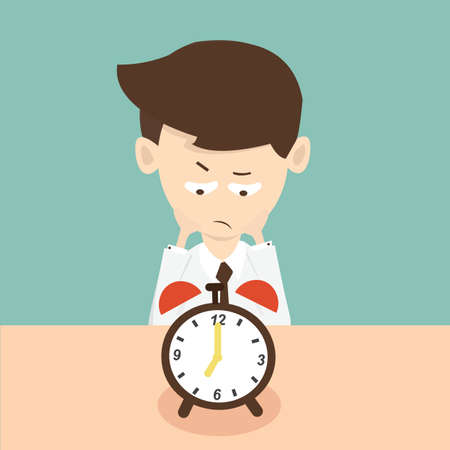boredom: businessman waiting  time and looking at a clock Illustration