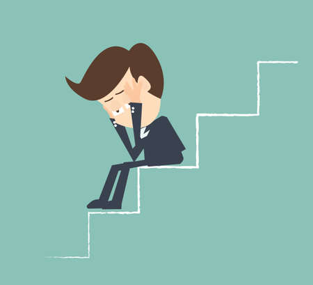 empresario triste: hombre de negocios triste en las escaleras - La recesi�n econ�mica