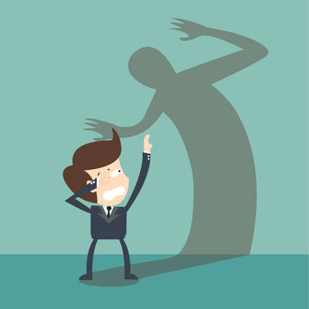 businessman was fears shadow in his inner emotions Vector