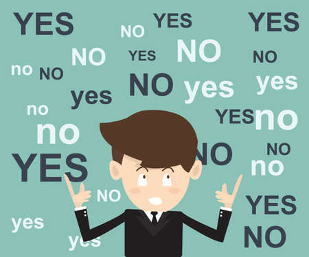 businessmen think  before the decision with yes or no choice Vector