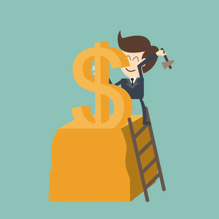 make money: businessman carving dollar - make money concept