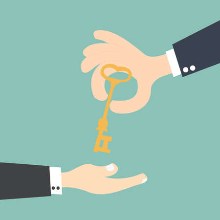 handing: hand holding  keys and handing it over to another person