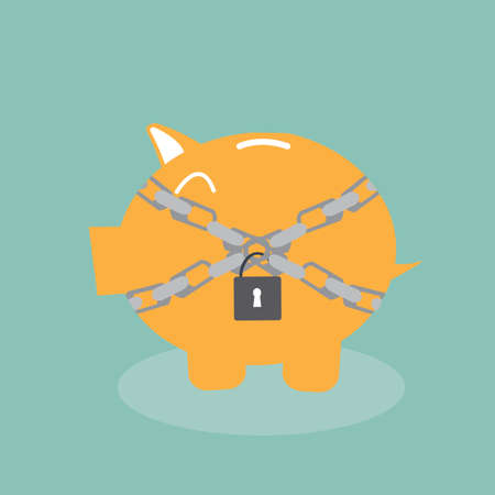 chained: Savings protection - Piggy bank in chains Illustration