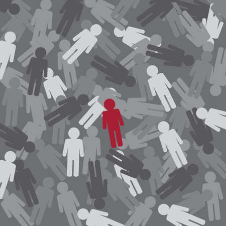 similarity: Difference concept - Red  People Pictogram Icon on background Illustration