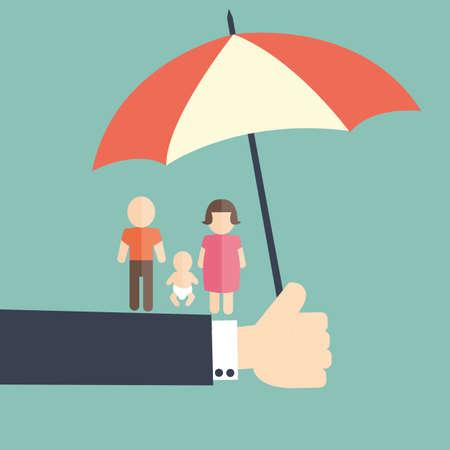 concepto de familia protegida Ilustración de vector
