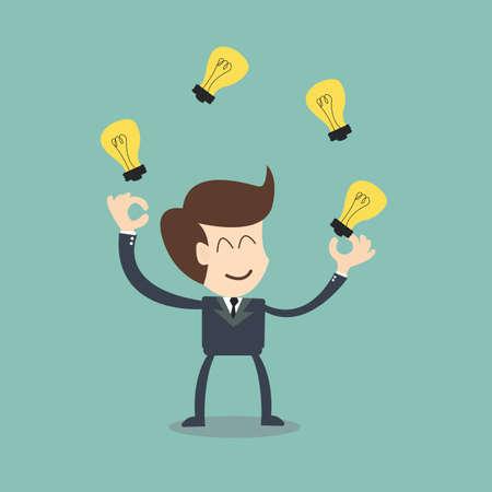 businessman juggling  with light  bulbs Vector