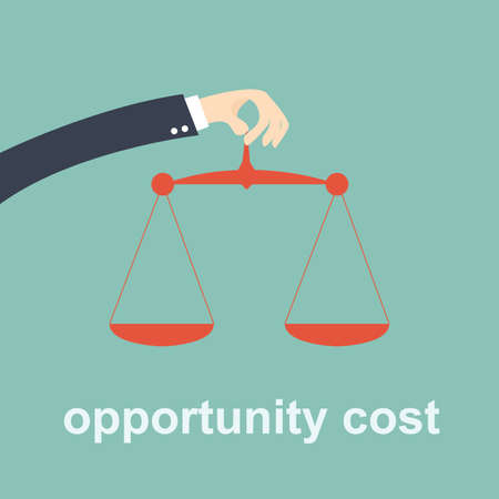 opportunity cost -  hand business holding weight scale 일러스트