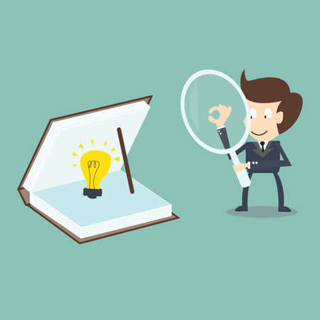 knowledge concept: businessman searching idea -  knowledge concept Illustration
