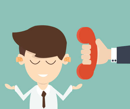 call outs: businessman cant hear what the call phone on the other