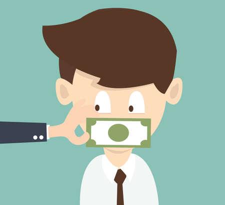 bestechung: Der Gesch�ftsmann welche Mund ist mit Geld geknebelt