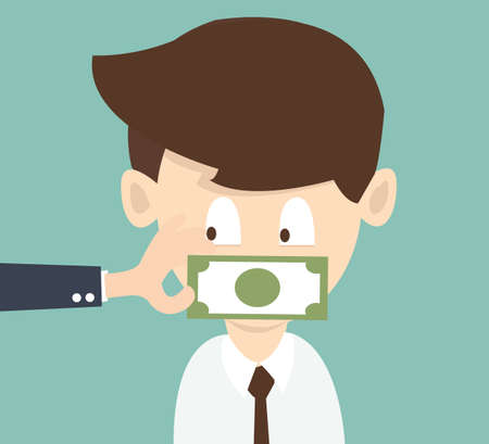 voiceless: The businessman which mouth is gagged with money
