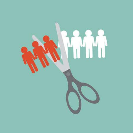 Ontslaan concept - het afsnijden van een rij van mensen in stukken
