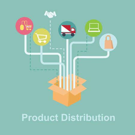 製品の流通  イラスト・ベクター素材
