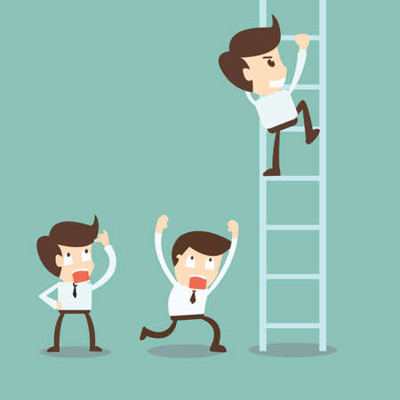 step ladder: Corporate ladders - Businessman climbing the ladder