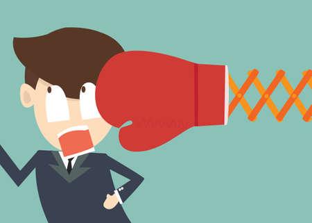 knocked out: la competencia y el concepto de crisis financiera - hombre de negocios es eliminado con guantes de boxeo ataque Vectores