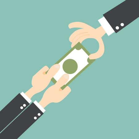 Tug of War with money. businessmen struggles to keep his money Illustration