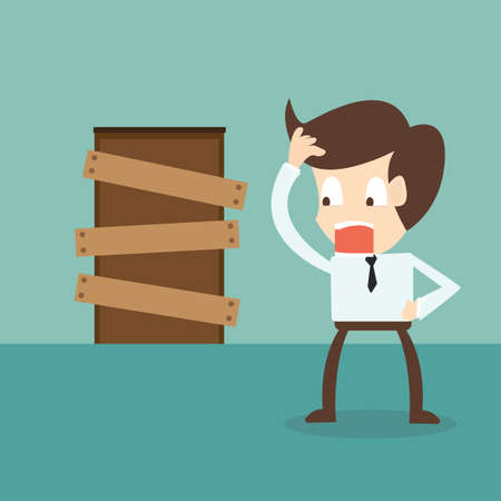 standing businessman and closed door - barriers to entry Vector