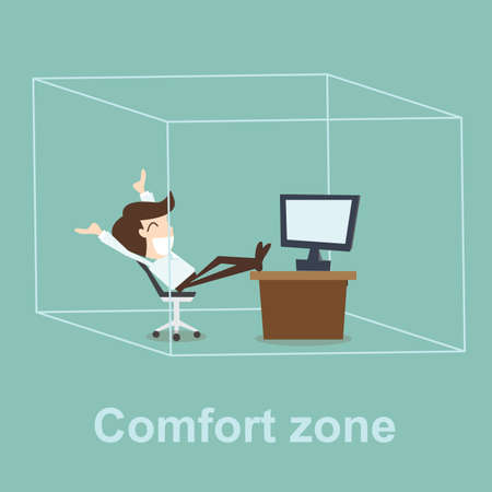 business skeptical: Comfort zone concept Illustration