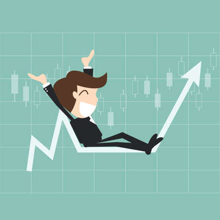 win money: Businessman sitting with his arms raised on a graph