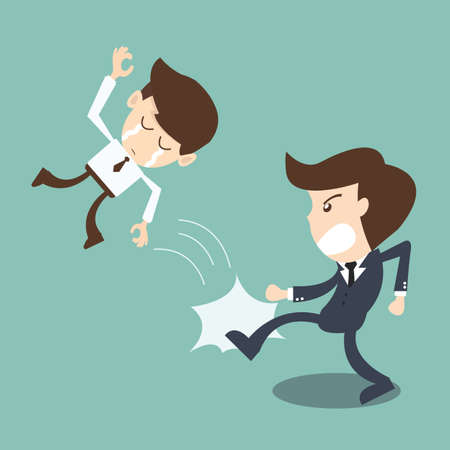 businessman being kicked out by boss -  Kicked Out