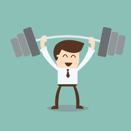 hand weight: businessman exercising with a barbell - successful target