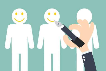 escribiendo: Escritura de la mano sonrientes en el cliente - Retención de Clientes