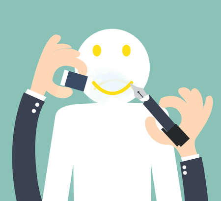 positief: Het veranderen van de ongelukkige om smiley - positief denken