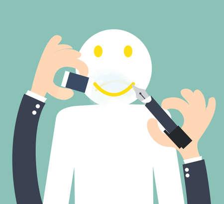 Het veranderen van de ongelukkige om smiley - positief denken