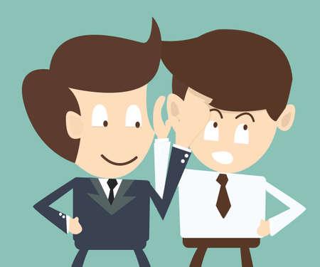 zakenman fluisteren iets aan zijn collega, privacy, geheime begrip Vector Illustratie