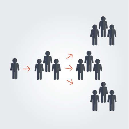 사람들의 그룹과 바이러스 마케팅의 개념을 분리 일러스트