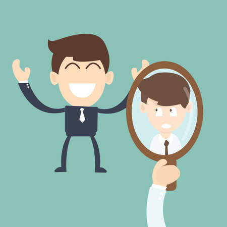 splitting: Businessman Comparing Yourself to Others in the mirror - concept Illustration