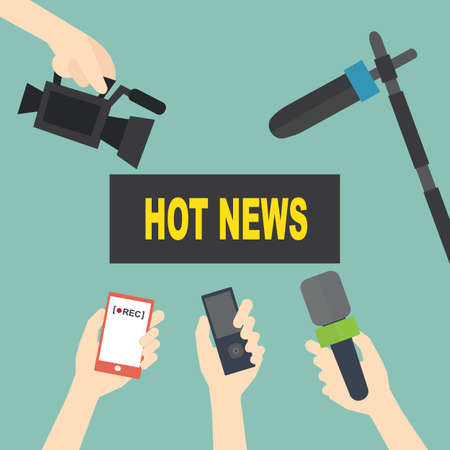 Journalism and mass media concept -  set of hands holding microphones and record video