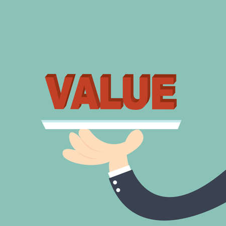 worth: businessman offering the word Value