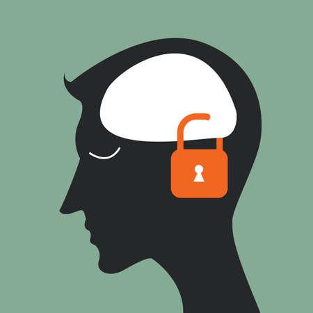閉鎖の頭脳の頭部とアイデアをロックします。  イラスト・ベクター素材