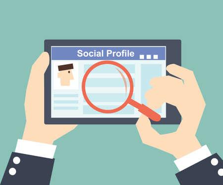 profil: Szukaj Społecznego -Tablet profil z sieci społecznej Ilustracja