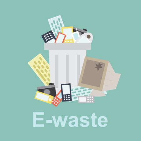 e-déchets corbeille remplie de vieux matériel informatique et ancien téléphone